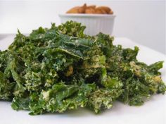 Raw Vegan Kale Chips from Food.com: For those of you not familiar with kale chips – welcome to vegan nirvana.