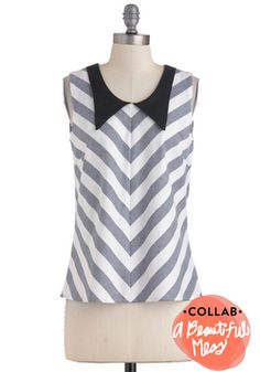 Super cute with jeans or a polka dot skirt to mix it up! Chevron to Something Top, #ModCloth