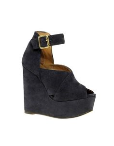 Peep Toe Suede Wedge w/ Ankle Strap