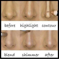 Make up contour makes the nose on your face look nothing like the nose on your face. Nose Contouring, Contour Makeup, Contouring And Highlighting, Skin Makeup, Strobing Makeup, Big Nose Makeup, How To Blend Contouring, Makeup Ideas, Makeup Ideas