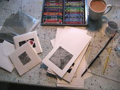 May 30, A Thing A Day; After an exciting and busy morning at my 'real' job and an appointment in the afternoon, I knew I needed some subdued studio time. I curated and packaged the cards I printed on Monday. Tibetan flute CD playing and quiet work was exactly what I needed.