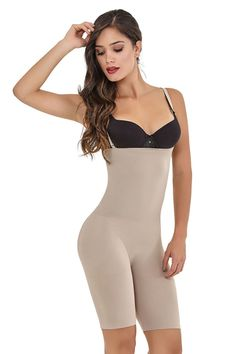 5c4715851a Fajas Colombianas Cocoon Seamless Body Shaper Open Bust Bio Crystals Long  Short Style with Removable   Adjustable Thin Straps - Ref Women s