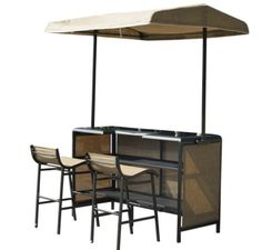 Outsunny 3 Piece Outdoor Mesh Cloth Canopy Bar Set - Table & Two Chairs, Beige, Size Sets, Patio Furniture