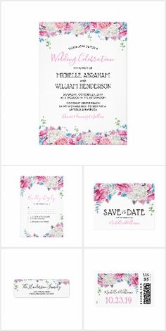 Pink Blue Summer Floral Invitation Suite