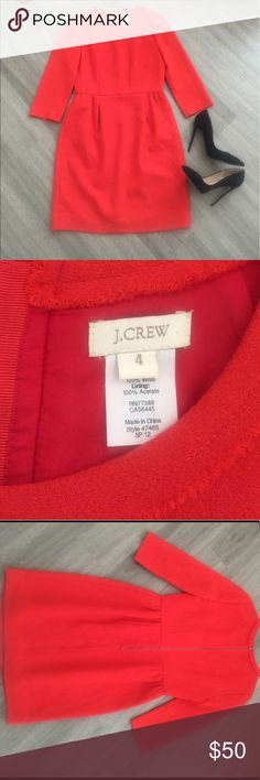 100% Wool JCrew Work Dress Stunning quarter sleeve JCrew dress. Worn once or twice, in great condition. J. Crew Dresses Long Sleeve