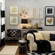 Metallic Home Decor To Spice Up Any Living Space Make a grand statement with metallic gold and black home accents! This stylish collection brings big-city style to your home without the hefty price tag. Gold Bedroom Decor, Gold Home Decor, Gold Wall Decor, Black Decor, White Decor, Black And Gold Living Room, Black And Gold Curtains, Black White And Gold Bedroom, Striped Curtains