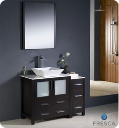 Torino 42 Inch Espresso Modern Bathroom Vanity With Side Cabinet And Vessel Sink