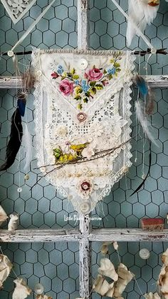 Doily wall hanging, dream catcher style, bird nest, embroidery, mixed media art, shabby chic