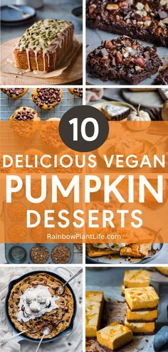 10 Easy Vegan Desserts for Thanksgiving | Rainbow Plant Life- A roundup of 10 Easy Vegan Desserts for Thanksgiving! Whether you're looking for something classic or more modern, this list of delicious vegan desserts will give you lots of inspiration for the holiday season! Click for the recipes! Pumpkin Spice Bread, Pumpkin Tarts, Vegan Pumpkin, Vegan Thanksgiving, Thanksgiving Desserts, Desserts To Make, Vegan Desserts, Pumpkin Cheesecake Bars, Vegan Gingerbread