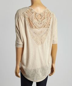 Look what I found on #zulily! Taupe Sheer Crocheted-Panel Open Cardigan by sun n moon #zulilyfinds but it's out of stock so why show it?? I WANT THIS!