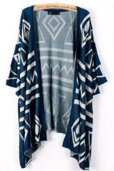 Love this Color! Blue Longline Cardigan #Cozy #Blue #Geometric #Cardigan #Fashion