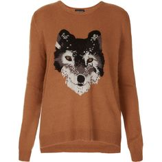 Knitted Wolf Jumper (95 AUD) found on Polyvore