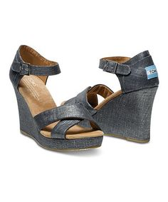 Another great find on #zulily! Black Metallic Linen Wedge by TOMS #zulilyfinds