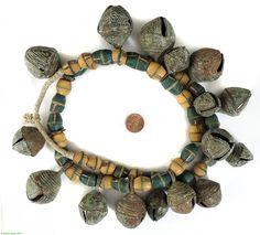Akan Brass Bells Pendants Yellow & Green Sandcast Beads Nigeria African