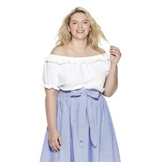 02a3e45338 Women s Plus Size Off the Shoulder Short Sleeve Bardot Top - White - vineyard  vines®