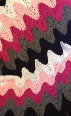 Hand Crocheted Exaggerated Chevron Ombre Afghan Throw on Etsy, $95.00
