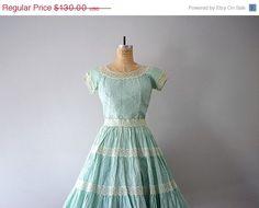 1950s mint green dress . crochet applique skirt by BlueFennel