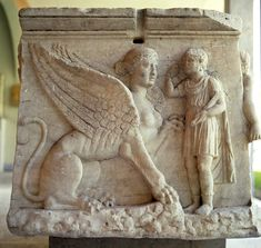 Greek relief of Oedipus and the Sphinx, detail from sarcophagus Hellenistic period. National Archaeological Museum, Athens Copyright C M Dixon/Ancient Art & Architecture Collection