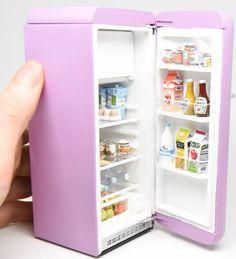 Miniature fridge #miniaturefurniture #miniaturefood #miniaturefruit