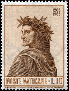 Dante Alighieri Italian poet, after a painting by Italian artist Raphael issued by Vatican City on May 1965 to celebrate the centenary of Dante's birth, Old Stamps, Rare Stamps, Postage Stamps, Commemorative Stamps, Vatican City, Italian Artist, Religion, Tampons, Beatrice Portinari