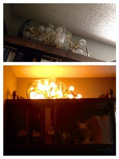 8.12.15 I spray painted the lights we took down from the backyard gold (I'm in love with this new Rustoleum spray paint), and used a large mason jar drink dispenser I found at a thrift store last year and have never used for that purpose (new at Walmart for $20...probably paid $5). New light for the office! It's plugged into the outlet controlled by the switch (a weird Colorado thing) for easy access. Love how it turned out.