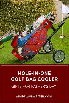 Roll your drinks to the party in this classic golf bag cooler. It features a folding top, two bucket compartments, rolling rubber wheels, permanent bottle opener and a baked-on clear-coat weathered finish. #fathersday #fathersdaygifts #golfgifts #winecooler #recycled #summercooler Beer Bottle, Bottle Opener, Classic Golf, Steel Barrel, Drain Plugs, Hole In One, Golf Gifts, Exterior Colors, Golf Bags
