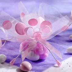 Pink Dot Tulle Baby Shower Favor Circles