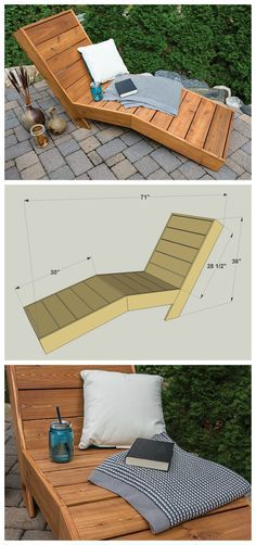 Kick back in comfort outside with this great-looking outdoor chaise lounge. Its built with a shape that cradles your body and keeps you from sliding down. The shape doesnt add much challenge to the build though. Just cut a few pieces at an angle with y Diy Outdoor Furniture, Pallet Furniture, Furniture Projects, Furniture Plans, Garden Furniture, System Furniture, Rustic Furniture, Antique Furniture, Pallet Table Outdoor