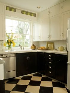Two-Toned Cabinets, Tiled Countertop