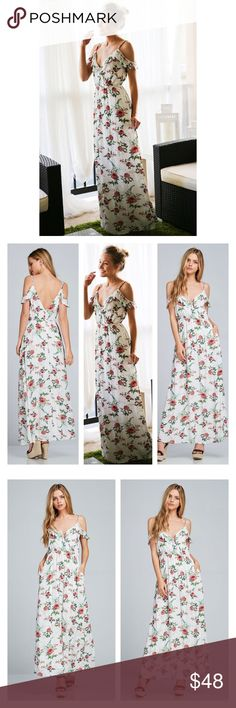 ✨HP✨ Arrives Soon- Floral Print Maxi Dress Best In Boutiques HOST PICK! Chic open shoulder Floral print maxi dress. Ruffled shoulder line. Adjustable spaghetti straps. Elastic waist and a hidden zipper at back. Side seam pockets on either sides. Can be beautifully worn with flats or wedges. 100% soft Rayon. Brand new. Price is firm unless bundled. Thank you  Dresses Maxi