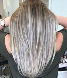 Balayage and ombre hair. Hair Color Ideas & Trends for Stylish and attractive. Balayage and ombre hair. Hair Color Ideas & Trends for Stylish and attractive. Gray Hair Highlights, Hair Color Balayage, Blonde Color, Ombre Hair, Highlights For Straight Hair, Color Streaks, Blond Ash, Ash Blonde Hair, Ash Grey Hair