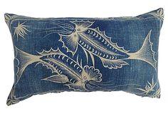 Indigo Batik Pillow w /Fish. Denim fabric good for cushions Chinese Fabric, Textile Dyeing, Mood Indigo, Japanese Textiles, Color Stories, Spring Colors, Fabric Painting, Soft Furnishings, Bohemian Decor