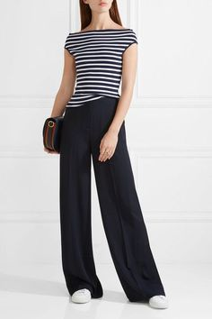 Michael Kors Collection - Off-the-shoulder Striped Stretch-knit Top - Navy - x small