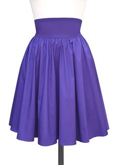 Trashy Diva Gathered Skirt   Vintage Inspired Skirt   Purple Poplin