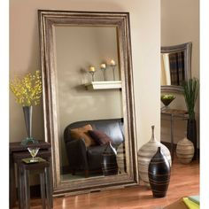 Product Details Black Framed Mirror 46x76 In