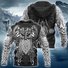 Viking Odin Tattoo Style Full Printed Black Hoodie All Over Print H Sweat Shirt, Zip Hoodie, Tatoo Styles, Viking Tattoos, Warrior Tattoos, Hipsters, Pulls, Black Hoodie, Hiphop