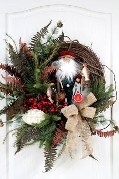 Like the rustic Fishing Santa, Country Front Door Wreath, Cabin Christmas Wreath for the Fisherman at Heart