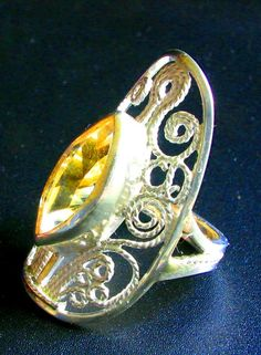 Sterling silver filigree ring with Citrine