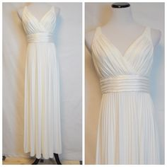 """Suzy Chin Ivory Pleated Gown NWOT. No stains or tears. Bust 36"""" Waist 28"""" Length 57"""" Made very well Suzi Chin Dresses Wedding"""
