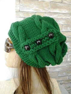 Items similar to Women Winter Hat Slouchy Hat Hand Knit Womens Hat Beanie Gift for Her Christmas Gift Emerald Green hat Greeny Hat Winter Women Accessories on Etsy - Knit Hat Slouchy Beanie Women hat Slouchy Beanie hat by Ebruk Hand Knitting, Knitting Patterns, Knit Crochet, Crochet Hats, Cable Knit Hat, Green Hats, Winter Hats For Women, Slouchy Hat, Winter Accessories