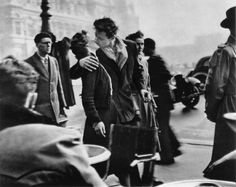 """Robert Doisneau's """"The Kiss at Hotel De Ville"""" is one of the most iconic and popular photos of Paris ever taken. A new exhibition of 280 of his black and white photos of Paris cityscapes is at the Hotel De Ville. Robert Doisneau, Photography Jobs, Vintage Photography, Street Photography, Photography Office, France Photography, Photography Couples, Photography Magazine, People Photography"""