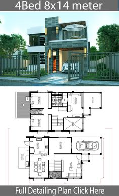 Home Design Plan with 4 Bedrooms - Home Design with Plansearch Beach House Plans, Dream House Plans, Modern House Plans, House Floor Plans, Modern Houses, Small Houses, Simple House Design, House Front Design, Cool House Designs