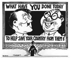 Dr. Seuss illustrated this cartoon. During World War Two, he was hired by the military to create propaganda such as this and he also continued to work for the newspaper PM.