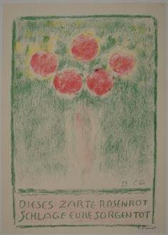 cuno amiet | Lithographie de Cuno Amiet, Blumenvase mit Rosen sur Amorosart