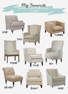 6th Street Design School | Kirsten Krason Interiors : My Favorite Affordable Neutral Chairs