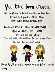 Cute Harry Potter illustrated invitation