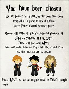 Cute Harry Potter illustrated invitation