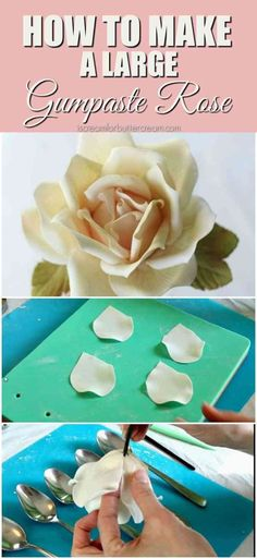 How to Make a Large Gumpaste Rose 1 Sugar Paste Flowers, Icing Flowers, Fondant Flowers, Easy Cake Decorating, Cake Decorating Techniques, Cake Decorating Tutorials, Buttercream Fondant, Fondant Tips, Fondant Bow
