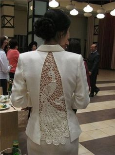 """Ажурные вставки """"redesign remake upcycle details lace crochet Комментарии к теме"""", """"Beautiful repurpose of a too tight jacket"""", """"// Pinned by Ellen R Diy Clothing, Sewing Clothes, Crochet Clothes, Remake Clothes, Irish Crochet, Knit Crochet, Crochet Style, Crochet Pattern, Crochet Jacket"""