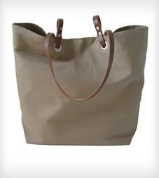 Linen and Leather Tote Bag - Taupe